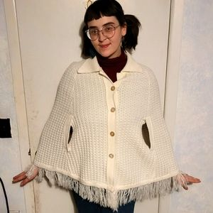 White shawl with fringe--missing one button!
